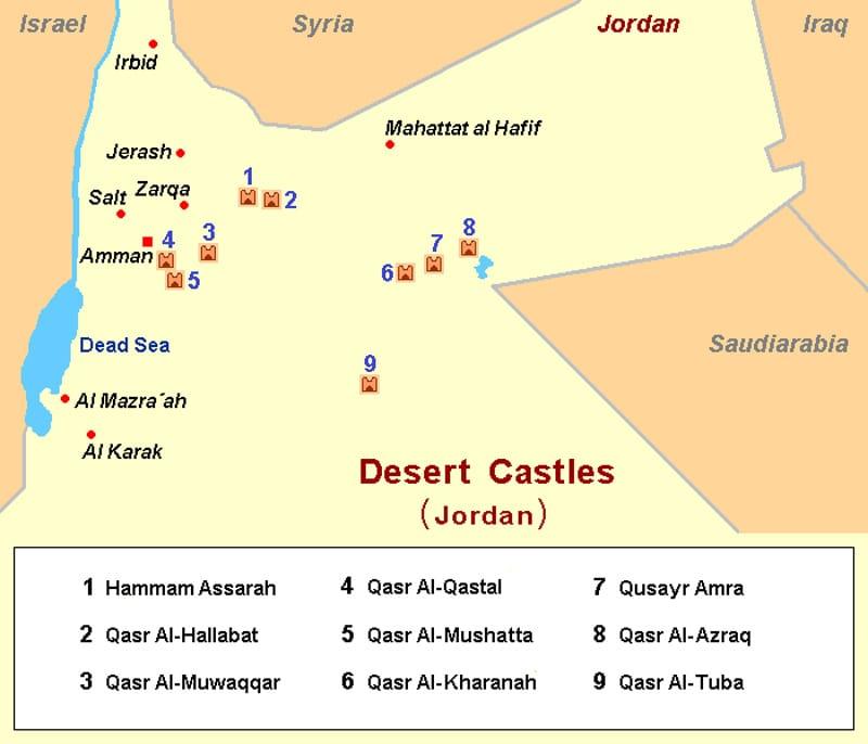 mappa castelli deserto giordania