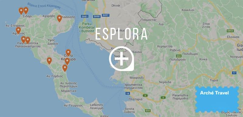 Mappa top 10 cosa da vedere corfù grecia