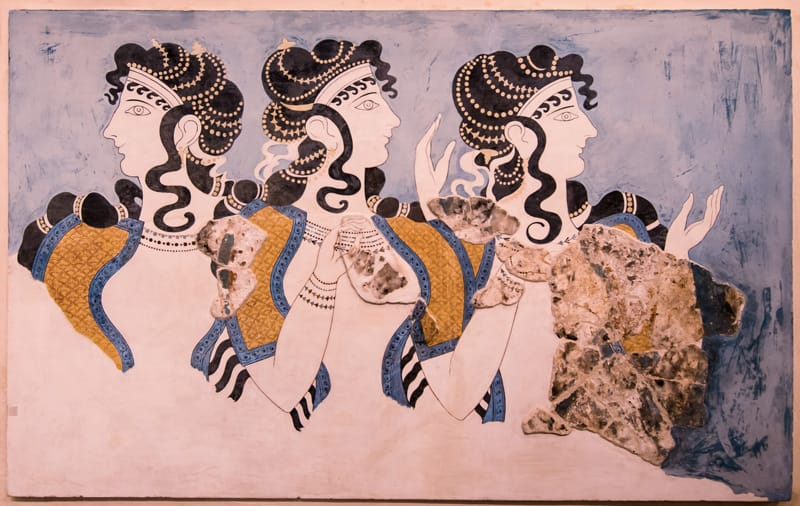 palazzo di cnosso affresco signore in blu