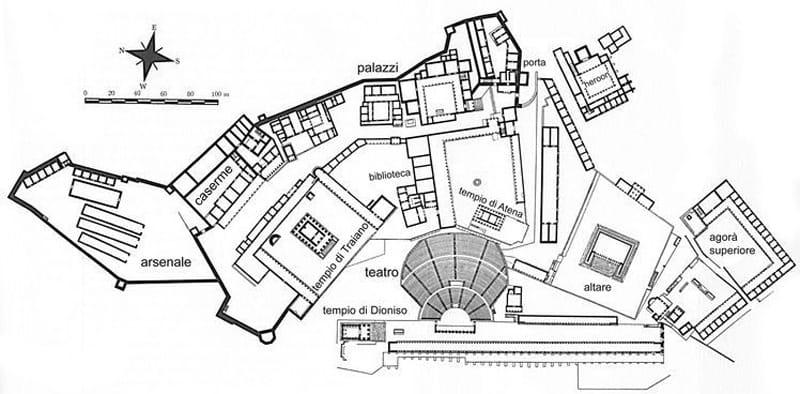 Sito archeologico di Pergamo mappa