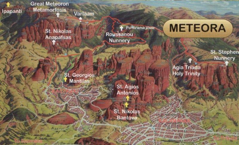 mappa meteore grecia