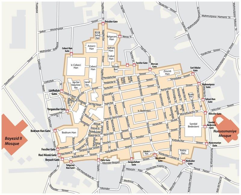 mappa grand bazar istanbul