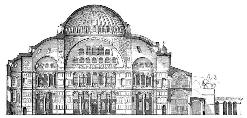 sezione basilica santa sofia